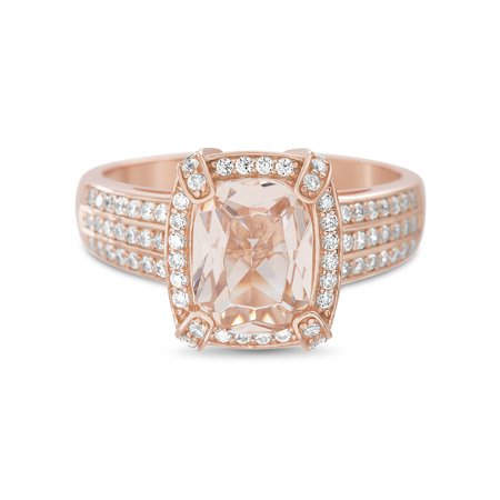 Lesa Michele Women's Simulated Morganite And Cubic Zirconia 3 Row Square Shaped Halo Engagement Ring in Rose Gold Plated Sterling
