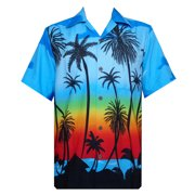 759ba8340096 Hawaiian Shirt 42 Mens Allover Coconut Tree Beach Aloha Party Light Blue M