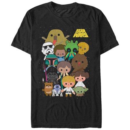 Star Wars Cute Cartoon Character Group Mens Graphic T Shirt
