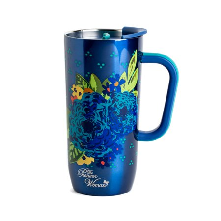 The Pioneer Woman® 20 oz Frontier Stainless Steel Double Wall Vacuum Insulated Blue Travel Mug with Handle and Lid Classic Stainless Single Handle