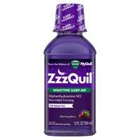ZzzQuil Nighttime Sleep Aid Liquid by Vicks, Warming Berry Flavor, 12 Fl Oz