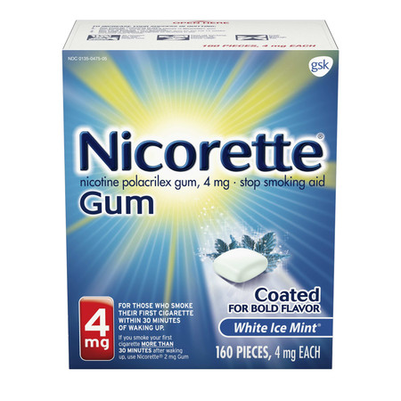 - Nicorette Nicotine Gum to Stop Smoking, 4mg, White Ice Mint, 160 count