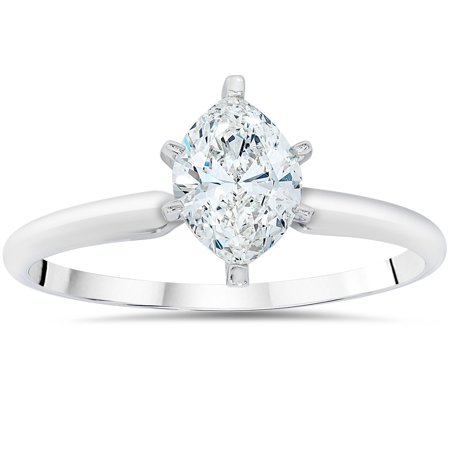 1ct Solitaire Marquise  Diamond Engagement Ring 14K White Gold ()