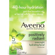 2 Pack - AVEENO Active Naturals Positively Radiant Overnight Hydrating Facial Moisturizer 1.7 oz