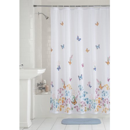 Mainstays Butterfly Fabric Shower Curtain Walmartcom