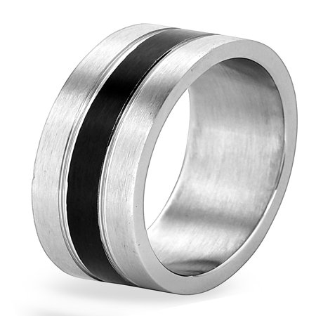 - Men's Stainless Steel Brushed Black Striped Grooved Ring (8mm)