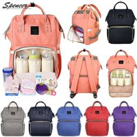 Spencer Multifunction Mummy Bag Baby Nappy Diaper Bag Waterproof Maternity Backpack Large Capacity for Baby Care - Pink