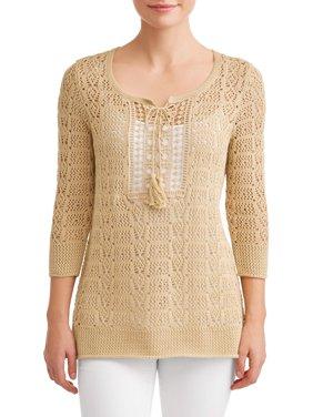 Women's Crochet Pullover with Tassels
