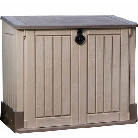 Keter Store-It-Out Midi 30-Cu Ft Resin Storage Shed, All-Weather Plastic Outdoor Storage, Beige/Taupe ()