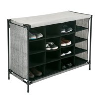Simplify 16 Compartment Shoe Cubby Organizer W/Cover - Black