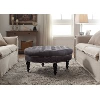 Isabelle Round Tufted Ottoman, Multiple Colors