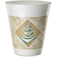 Dart, DCC8X8G, 8oz Hot/Cold Foam Cups, 1000 / Carton, White,Brown,Green, 8 fl oz