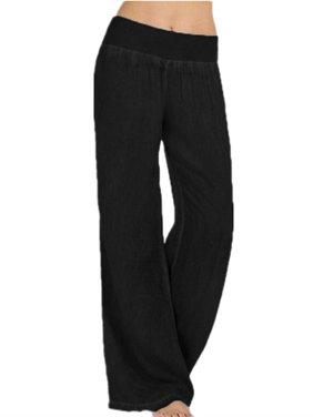 Women's Elastic Waist Faux Denim Wide Leg Pants Flared Trousers