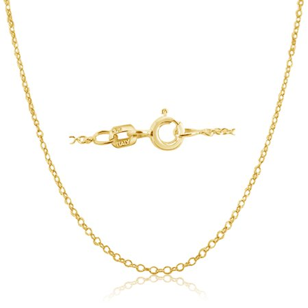 Gold Italian Heart - Cable Chain Necklace Sterling Silver Italian 1.3mm Gold Plated Nickel Free 18 inch