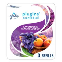 Glade PlugIns Scented Oil Refill Lavender & Peach Blossom, Essential Oil Infused Wall Plug In, Up to 50 Days of Continuous Fragrance, 1.34 oz, Pack of 3