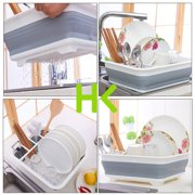 HK 14.49x12.28x4.92 Dish Drying Rack Dish Drainer w/Utensil Holder Antimicrobial Multi-function Foldable