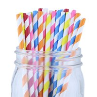 Just Artifacts 100pcs Decorative Striped Paper Straws (Striped, Assorted Colors)