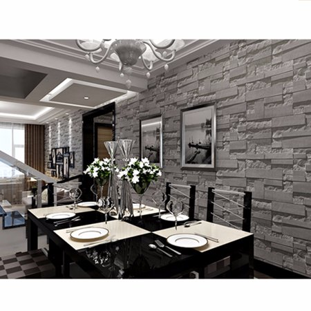 57sq.ft Large Waterproof Removable 3D Vintage Embossed Stone Brick Effect Vinyl Wallpaper Roll for Bedroom Living Room TV Background Home Decor Restaurant (Stone Effect Water)