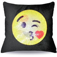 """EmojiPals Blowing Kiss Reversible Sequin Decorative Pillow- 17"""" x 17"""" """"Styles May Vary"""""""