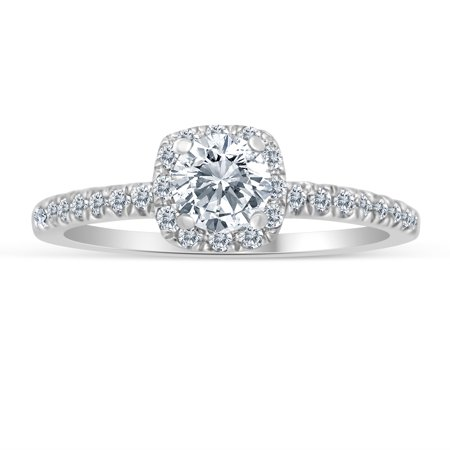 1/2ctw Diamond Halo Engagement Ring in 10k  White