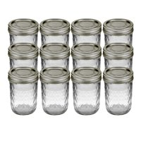 Kerr Regular Mouth Half-Pint Quilted Crystal Jelly Jars with Lids and Bands, 8 oz., 12 Count