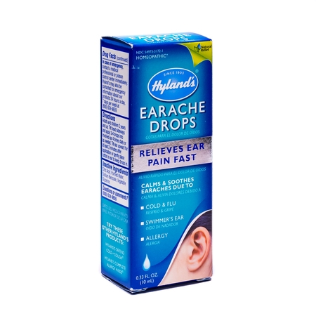 Hyland's Earache Drops, Natural Homeopathic Cold & Flu Earaches, Swimmers Ear and Allergies Relief, 0.33