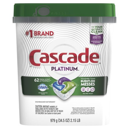 Cascade Platinum ActionPacs, Dishwasher Detergent, Fresh, 62