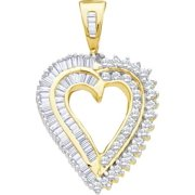 10K Yellow Gold 1.00ctw Fancy Stunning Pave Diamond Ladies Heart Pendant