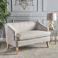 Noble House Mid Century Modern Fabric Loveseat,Beige