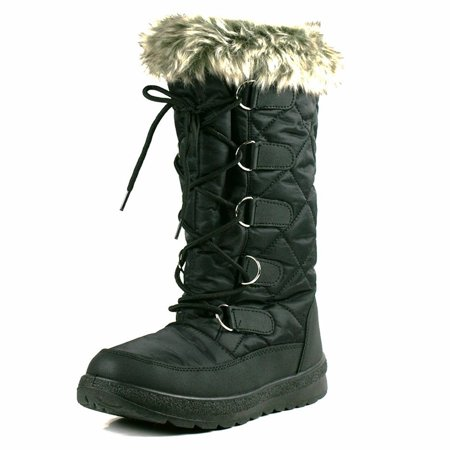 OwnShoe Poala Womens Lace Up Mid Calf Winter Snow Flat - Vintage Flat Boots