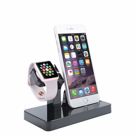 2 in 1 Stand Holder & Charging Docking Station, Charger Stand Dock Compatible with Apple Watch Series 3 2 1, iWatch, iPhone, iPod -Black
