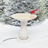 "Allied Precision 20"" Heated Birdbath with Pedestal Beige"
