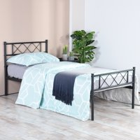 Easy Set-up Premium Metal Bed Frame Platform Box Spring Replacement with Headboard Footboard
