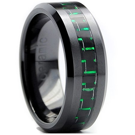 8MM Flat Top Men's Black Ceramic Ring Wedding Band With Black & Green Carbon Fiber Inaly Sizes 5 to 15