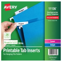"Avery Printable Tab Inserts for Hanging File Folders, 1/5 cut, 2"" Pack of 100 (11136)"
