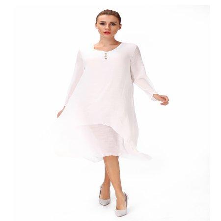 Plus Size Bridal Dresses (Women's Linen Long Sleeve Button Vintage Irregular Hems Maxi Dresses Plus Size )