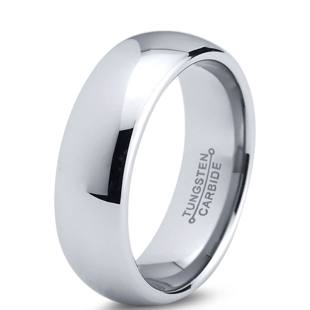 Quality Tungsten Ring - Charming Jewelers Tungsten Wedding Band Ring 7mm for Men Women Comfort Fit Domed Round Polished Lifetime Guarantee