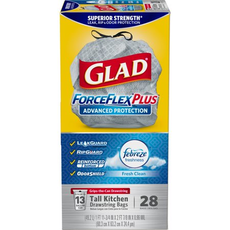 Glad ForceFlexPlus Advanced Protection Tall Kitchen Drawstring Trash Bags - Febreze Fresh Clean -13 Gallon - 28 ct (Gray Tuffmade Polyliner Bags)