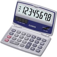 Casio SL-100L 8-Digit Folding Solar Calculator, Large Display