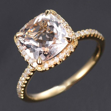 Sale: 1.50 Carat Cushion Cut Peach Pink Morganite and Diamond Halo Engagement Ring in 10k Yellow Gold for Women on