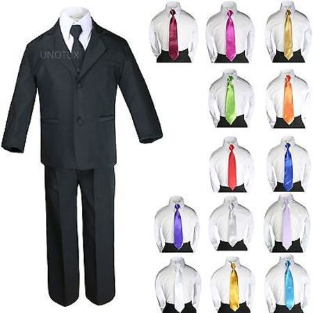 6pc Baby Toddler Boy Teen Black Formal Wedding Tuxedo Suits + Satin Necktie - Boys Tuxedo