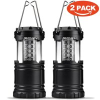 30 LED Ultra Bright Camping Lantern, Portable Collapsible Lightweight Lighting Outdoor Adventure Hiking Light Lamp (Black 2 Pack)