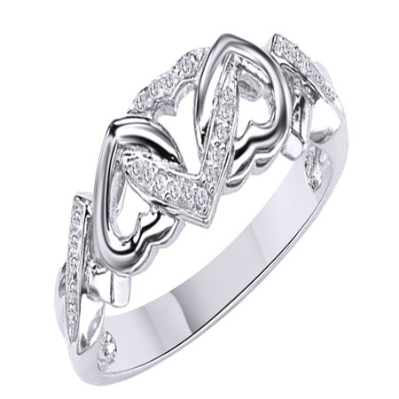 - White Natural Diamond Accent Triple Heart Promise Ring In 14k White Gold Over Sterling Silver (0.03 Cttw)