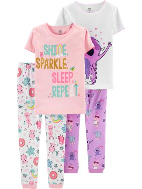 Short Sleeve T-Shirt and Pant Cotton Pajama Bundle, 2 sets (Baby Girls)