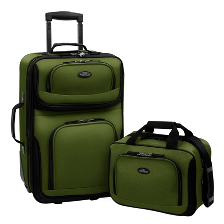 U.S. Traveler Rio 2-Piece Carry-On Luggage Set Ballistic Nylon Luggage Sets