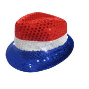 e7d3d364e1ccc Sequin Patriotic Fedora Sparkly Light Up Red White Blue 4th July Party Hat  Cap