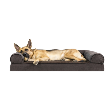 FurHaven Pet Dog Bed | Memory Foam Faux Fleece & Chenille Couch Sofa-Style Pet Bed for Dogs & Cats, Coffee, Jumbo