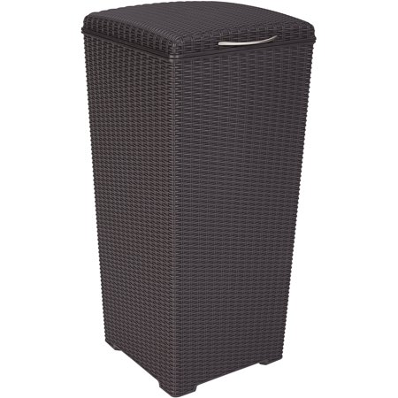 Keter Pacific 30-Gallon Resin Plastic Wicker Outdoor Waste Bin with Liner 23 Gallon Rectangular Waste Containers
