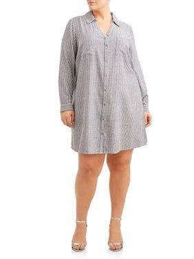 Women's Plus Size Button Down Shirt Dress