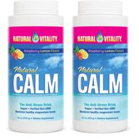 (2 Pack) Natural Vitality Natural Calm Magnesium Supplement, Raspberry-Lemon, 16oz